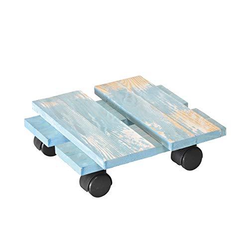 WAGNER Chariot de Plantes LOFT Shabby Chic 28 x 28 x 8 cm   pour intérieur, pin   Style rétro en Bois Massif ondulé, certifié FSC®, Brut de sciage, Bleue   Capacité de Charge 100 kg - 20085701