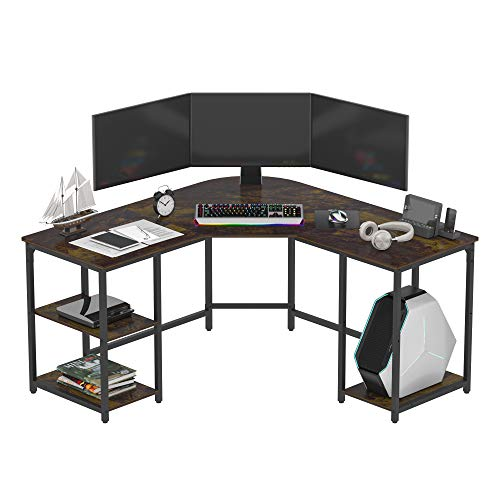 Earthsign L-Shaped Home Office Desk with Four Shelves Storage, Spacious Corner Computer Desk for Working from Home, Workstation, Gaming, 56.96 Inch, Round Corner, with Cherry Color Wood Top
