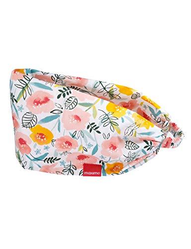 maximo Baby-Mädchen Haarband Mütze, Mehrfarbig (lachsrosa-gelb-Blumen 37), (Herstellergröße: 49/51)