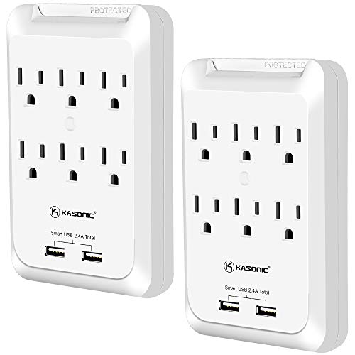 Kasonic 6-Outlet Wall Mount Surge Protector 2 Pack, 900 Joules Power Strip with 2 USB Smart Charging Ports (Total 2.4 Amp), Protection Indicator LED Light, Space Saving Design, ETL Certified