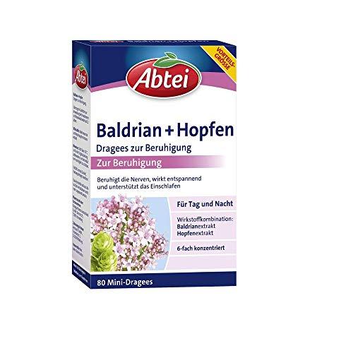 Abtei Baldrian + Hopfen Dragees zur Beruhigung für Tag und Nacht - entspannend, unterstützen das Einschlafen - für Vegetarier, natürlich wirksam - 1 x 80 Mini-Dragees