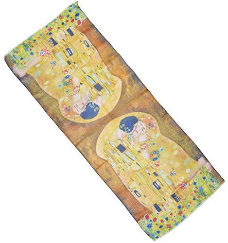 thb Richter XXL Langer Schal mit Gemälde Motiv Kunstdrucke Malerei Halstuch Tücher Stola Umschlagtuch Schals/Gustav Klimt/Der Kuss