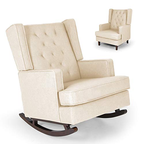 Mid Century Retro Modern Living Room Rocking Chair, Fabric Upholstered Chairs, 2 Types of Chair Legs Can be Replaced (Beige)