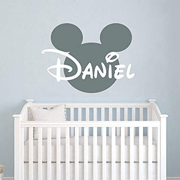 CECILIAPATER Name Wall Decal Mickey Mouse Head Ears Vinyl Decals Sticker Custom Decals Personalized Baby Name Decor Bedroom Nursery Baby Room Decor ZX29