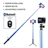 Long Selfie Stick,Extendable Foldable Selfie Stick with Wireless Bluetooth Remote and Adjustable Holder for iPhone,Samsung