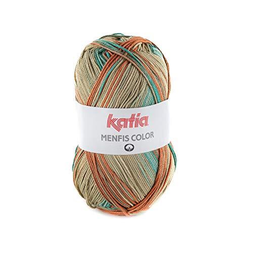 Katia Menfis Color Farbe 110, Baumwollgarn mit Farbverlauf, 100g Baumwolle, Stricken, Häkeln, Nadelstärke 2,5-3,5 mm