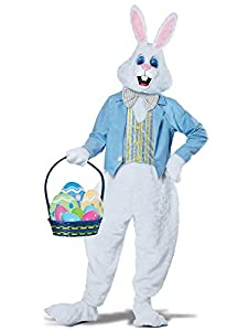 It includes a faux fur body suit with attached vest and jacket, a bunny head with mesh eyes and attachable ears, a pair of bunny mittens and shoe covers Basket with eggs not included