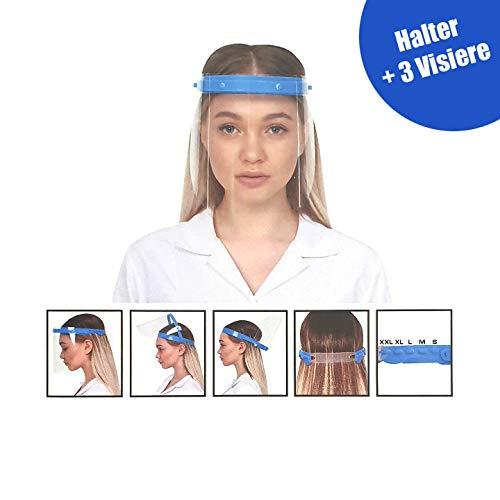Visier Gesichtsschutz klappbar speziell für Brillenträger o. Ärzte - 180 Grad verstellbar - Klappvisier aus robustem Kunststoff – Face Shield – Schutzschild - Blau