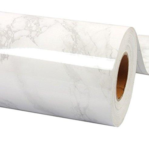 WDragon Klebefolie, Abziehtapete, Muster: weiß-grauer Marmor, selbstklebend, glänzend, Vinyl, für die Küchentheke, Wandaufkleber – 61x 200cm Weiß/Grau