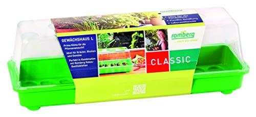 Romberg Serre de Jardin L (Couleur Vert, gouttière, coulisseau dans Le Capot en Plastique sans PAK)