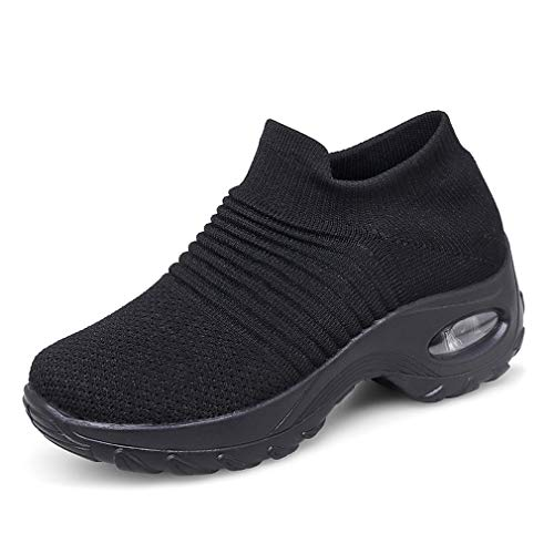 Zapatillas Deportivas de Mujer Gimnasio Zapatos Running Deportivos Fitness Correr Casual Ligero Comodos Respirable Negro Gris Morado 35-42 BK2 38