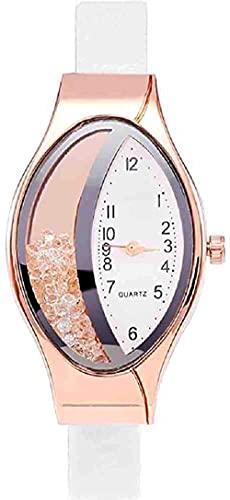 JZDH Mano Reloj Reloj de Pulsera Mujeres Casual Reloj de Acero Inoxidable Reloj de Pulsera de Cuarzo de Acero Inoxidable Correa Fina Lady Watches Relogiono Relojes Decorativos Casuales (Color : Weiß)