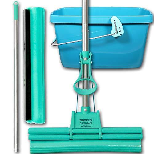 Abacus Green Mop Lot de 40–02 – -- Green Mop 40 cm + manche + schwammm rechange + 20 L Leifheit Seau en vert – Double Essoreuse Mop Balai serpillère PVA Balai très absorbante – de Abacus