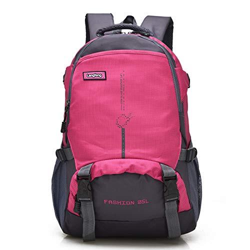 QXbecky Sac à dos de haute qualité en tissu Oxford sac à dos de grande capacité de randonnée en plein air sac à dos léger sport alpinisme sac étudiants masculins et féminins sac rose rouge 29x14x48cm