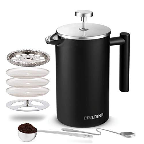 Finedine French Press Coffee Maker - (34-Oz) 18/8 Stainless Steel...