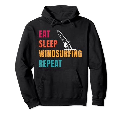 Surfero Eat Sleep Windsurf Repetir Retro Surf Deportes acuáticos Sudadera con Capucha