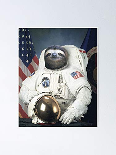 GAVIMAX Funny Astronaut Sloth - Poster | No Frame Board for Office Decor, Best Gift Family and Your Friends 11.716.5 Inch
