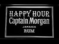 Captain Morgan Jamica Rum Happy Hour LED看板 ネオンサイン ライト 電飾 広告用標識 W40cm x H30cm ホワイト