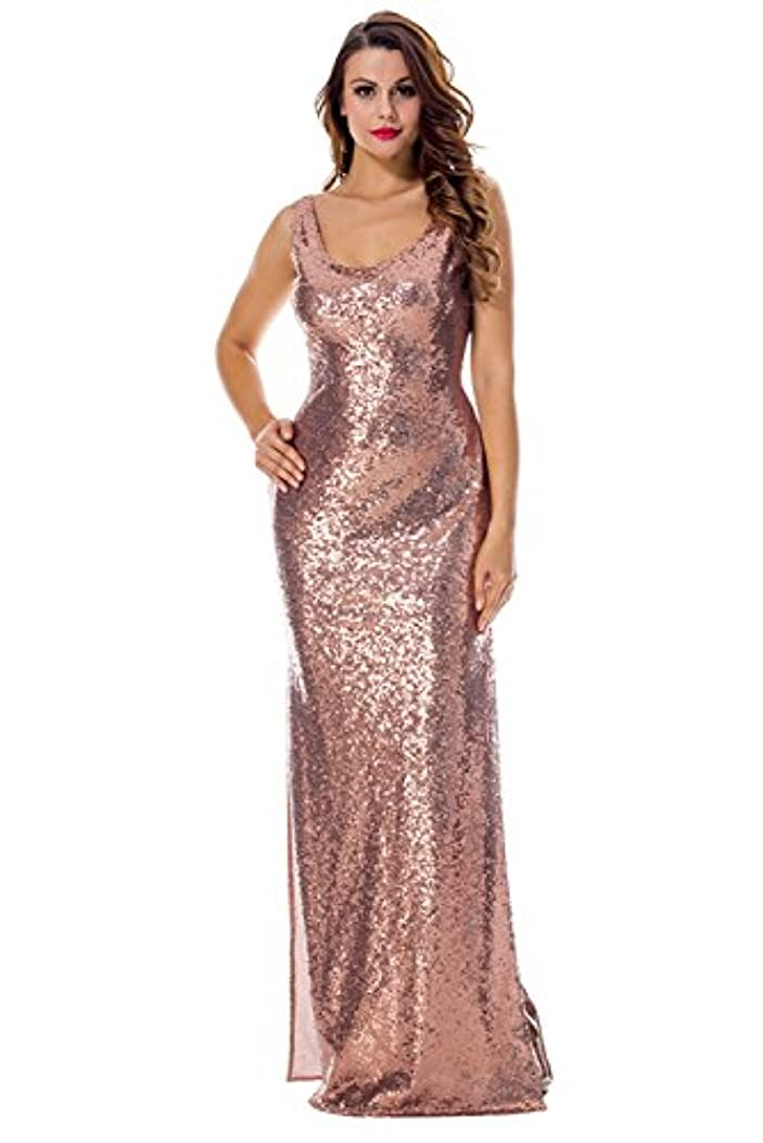 PARTY LADY Women's Fashion Sequins High Split Sexy Party Club Long Dress Bridesmaid Dress Prom/Evening Gowns
