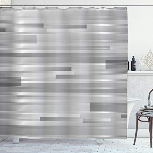 """Ambesonne Modern Shower Curtain, Futuristic Striped Web Forms Artistic Contemporary Graphic Fusion Artwork Print, Cloth Fabric Bathroom Decor Set with Hooks, 75"""" Long, Grey Grey"""