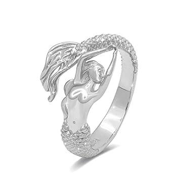 Mermaid Ring Sterling Silver Seaside Little Mermaid Adjustable Open Wrap Ring for Women Girls