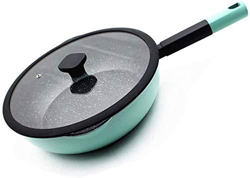 Pano / poêle à frire antiadhésifs, poignée résista Poêle à frire, casserole de saute en aluminium | WOK multifonctions | Pan-poêle antiadhésif |avec couvercle de verre trempé |Poignée antidérapante-fr
