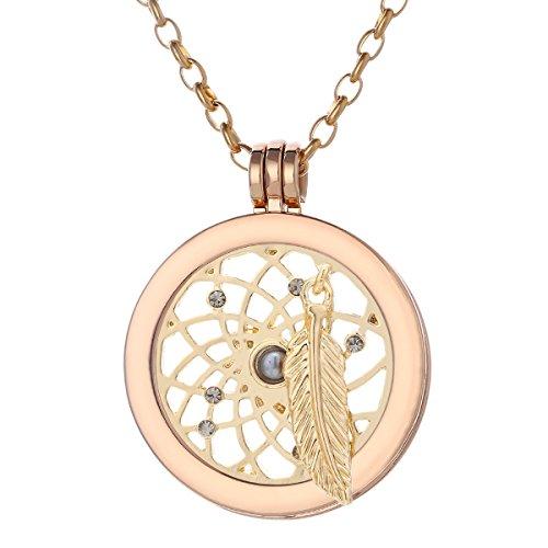 Morella Mujeres Collar 70 cm Acero Inoxidable de Oro y Colgante Amuleto Coin 33 mm átrapasueño de Color Oro 33 mm para Damas en Bolsa para Joyas