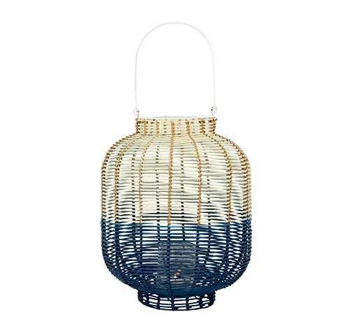Pirouette Paris lantaarn, wit/blauw, natuurlijk rotan, Ø 30 x 38 cm