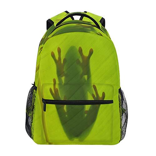 LUCKYEAH - Mochila para escuela, diseño de rana, color verde, para viajes, camping, gimnasio, senderismo
