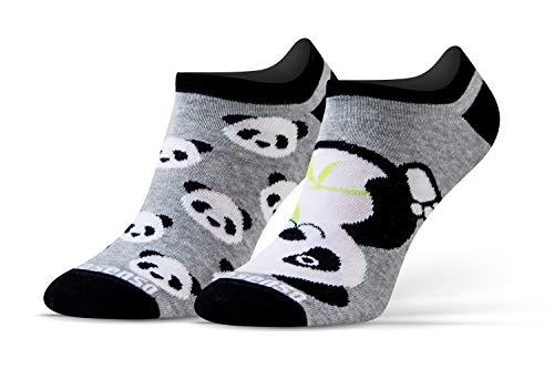 Sesto Senso Lustige Sneaker Socken Baumwolle Bunte Füßlinge Damen Herren 1-3 Paar Funny Socks 43-46 Panda