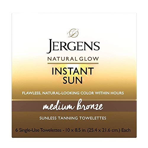 Jergens Natural Glow Instant Sun Sunless Tanning Towelettes, 6 Count, Single-Use Self Tanner Wipes for Flawless, Natural-Looking Color