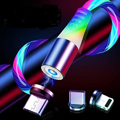 WoCo´s 3 in 1 USB Magnetladekabel, LED, Leuchtkabel 1M / 3,3ft, Nur Ladekabel kein Datenkabel, Universal für Handy, Tablet, Android, Appel, iphone (RGB)