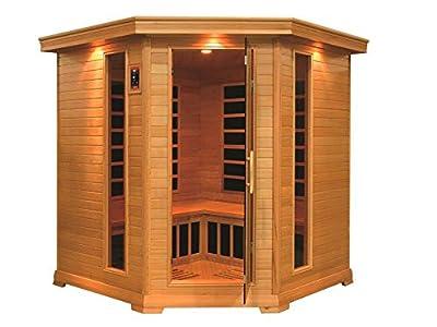 Golden Designs Monte Carlo 4-5-person Corner Near Zero EMF Far Infrared Sauna Canadian Hemlock