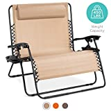 Best Choice Products 2-Person Double Wide Outdoor Folding Zero Gravity Chair Patio Lounger w/Cup Holders -Beige