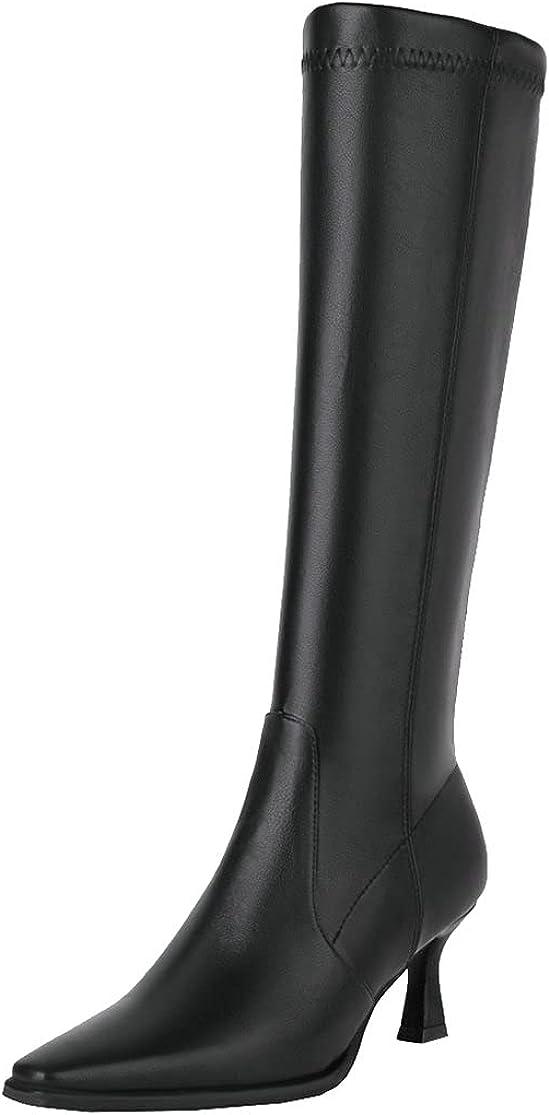 Womens Square Toe Knee High Boots Kitten Heel Knee Length Zipper Boot