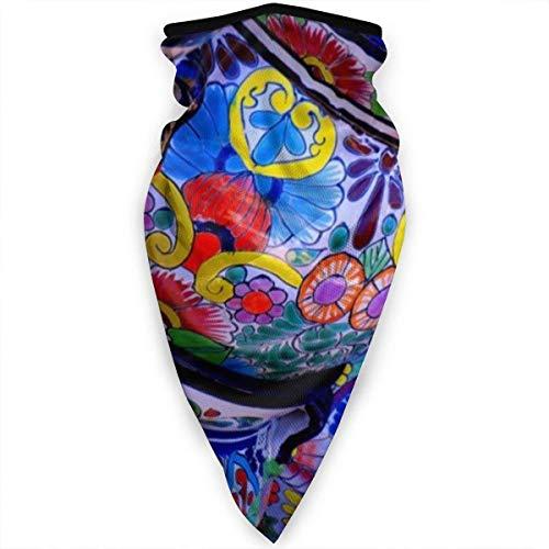 NA Balaclava gezichtsmasker, multifunctionele hoofddekselhals voor mannen, 3D-stofmasker zon UV-stof winddicht mooie kom kleurrijk aardewerk