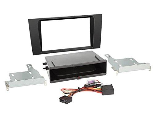 Facade autoradio 2DIN compatible avec Audi A4 Avec vide poche Induction Qi Noir