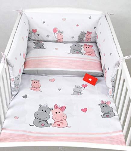 BABYLUX Bettwäsche Bezug 2 Tlg. 100 x 135 cm Kinderbettwäsche Bettwäsche Bettset Babybettwäsche (109. Hippo Coral)