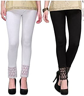 Pixie Women's Viscose Bottom Lace Leggings Combo (Pack of 2) - Free Size