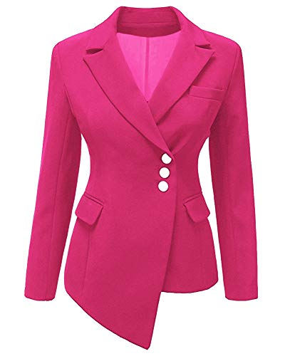 Donna Giacca Blazer Tinta Unita Slim Fit OL Orlo Irregolare Maniche Lunghe Giacca con Pulsante Casual Corto Cappotto Rosa Rossa M