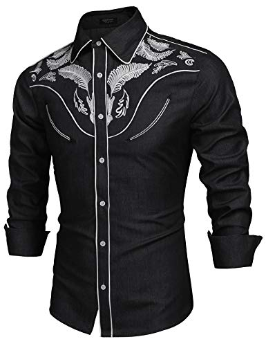 COOFANDY Herren Westernhemd Cowboy bestickt Langarm Button Down Hemd - - Groß