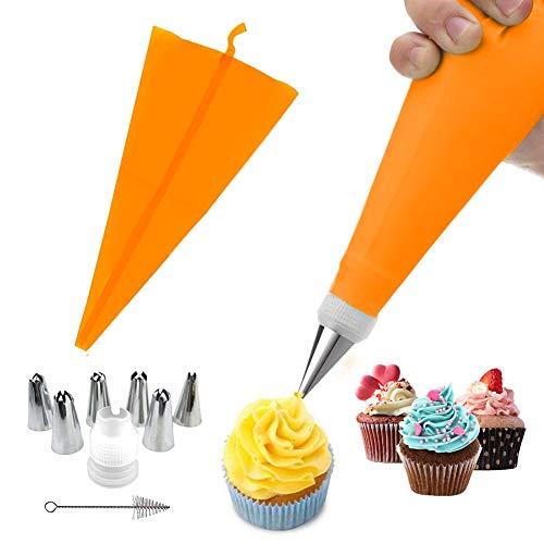Manga Pastelera de silicona y 6 x boquillas de pastelería de acero inoxidable, juego de decoración de pasteles para manualidades (6 boquillas + 1 manga naranja)