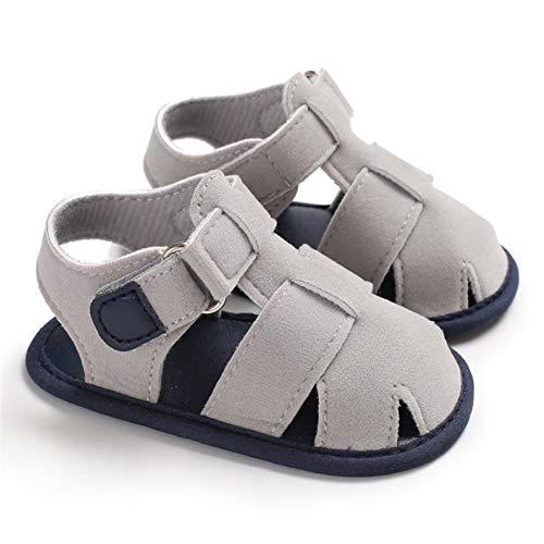 WanXingY 2020 Lindos Baby Boys Sandalias Zapatos Niños News New Niños Casual Cuero Playa Calzado de Vacaciones Recién Nacido Zapatos para bebés para niños 0-18m (Color : 13 18 Months, Size : Gray)