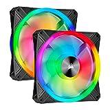 Corsair QL Series, Ql140 RGB, 140mm RGB LED Fan, Dual Pack with Lighting Node Core - Black