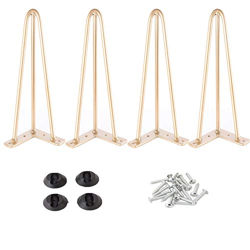 Osring Metal Hairpin Table Legs 16 Inch, Furniture Leg Gold with 3/8