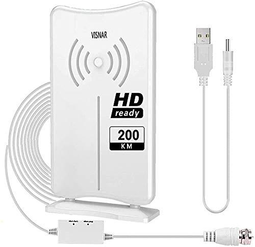 VISNAR Antenna tv Interna per Digitale Terrestre Antenna HD TV Portatile con Amplificatore Segnale, Ricezione Direzionale a 360 °260KM, Adatta a Tutti i Canali Locali TV 4KHD UHF VHF