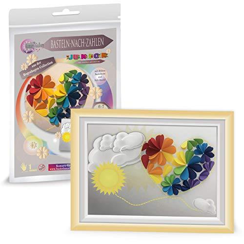 Papierbastelset Regenbogen Herz für Kinder ab 6 Jahre, Bastelset Kinder Basteln nach Zahlen in 3D, Geschenk zum Kindergeburtstag