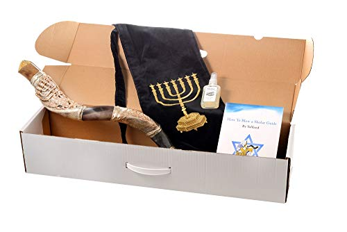 SHOFAR Polish Polished Silver Plated Set 30-32' Kudu Horn Yemenite Menorah Lion Of Judah + Bag + Spray + Guide + Carrying Box Case