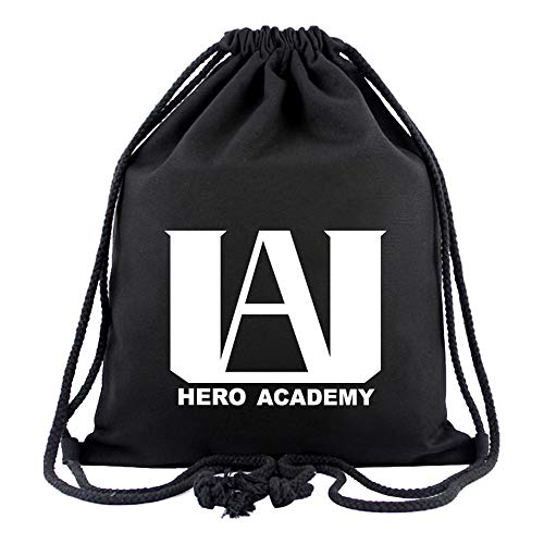 My Hero Academia BNHA U.A High School Logo Canvas Drawstring Backpack Sack Pack String Sport Gym Traveling Storage Bag Black Unisex