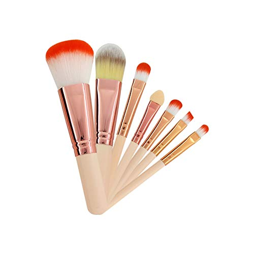 Hilai 7PCS Professionnel Set De Pinceau Maquillage Prime SynthéTique Fibre Fondation Blush Applicateur Sourcil Le Fard à PaupièRes Pinceau à Angle LèVre Pinceau Maquillage Avec PoignéE En Bois Durable
